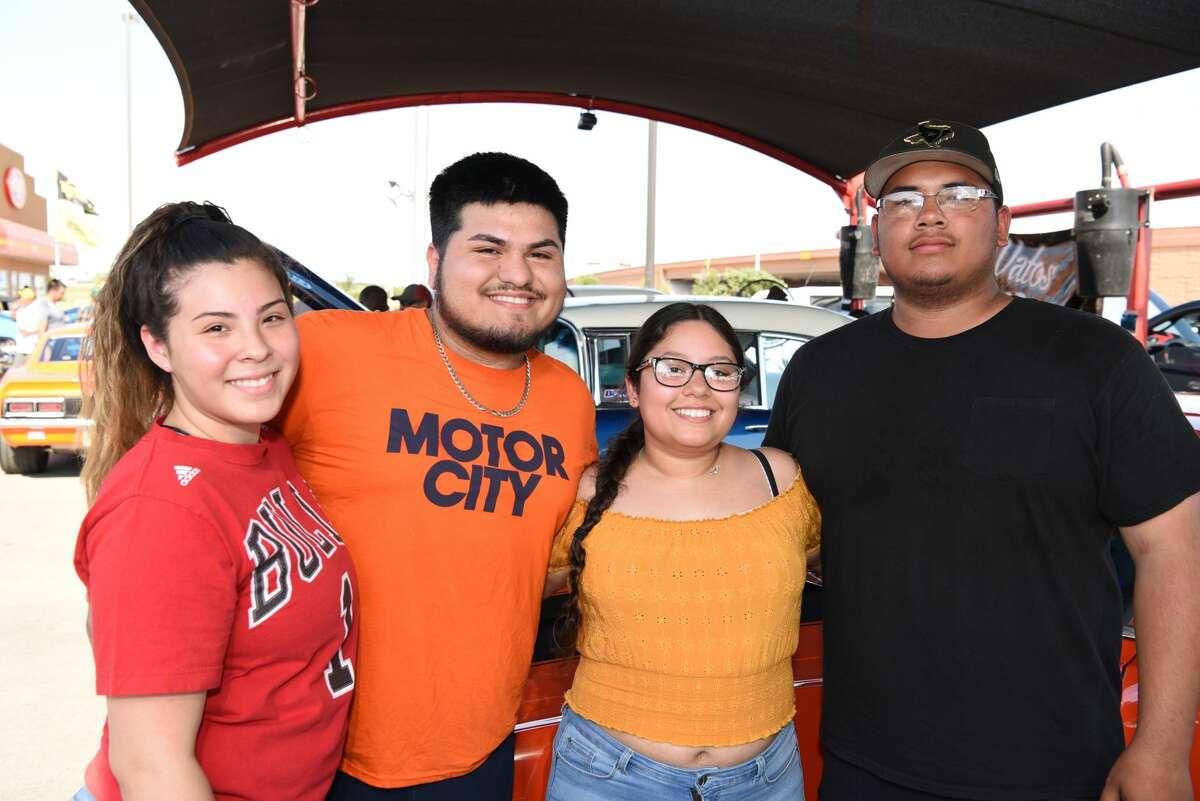 Destiny Martinez, Zeth Macias, Kristabel Bustamante and Alexis Saldana pose for a photo during the 4th Annual Summer Nights Car Show.