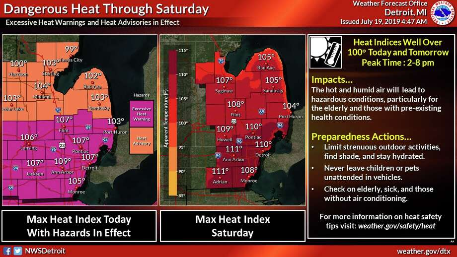A warm front will move across the region this afternoon. This front will bring hot and extremely humid air to Southeast Michigan. This will send heat indices into dangerous levels.