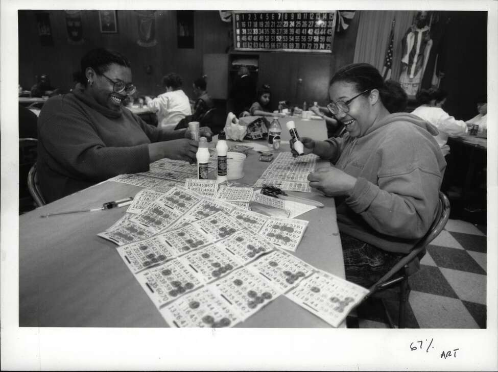 Bingo at the A.O.H. Hall on Quail Street, Albany, New York - Ohav Shalom night - Freeda Shaw and Velvet Davis, both of Albany. January 19, 1994 (Luanne M. Ferris/Times Union Archive)