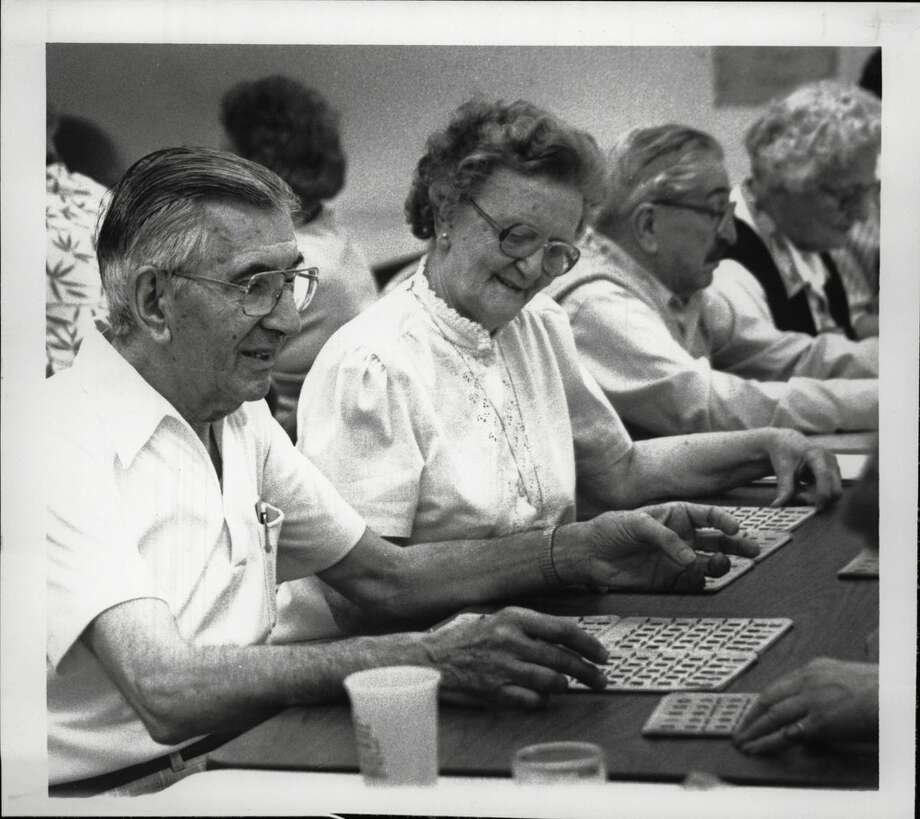 Malta Avenue School, Ballston Spa, New York - Senior Citizens Center - Newton Parente, President of the Senior Citizens Club, and Margaret Irwin on the publicity committee, are among those playing bingo. May 26, 1988 (Paul D. Kniskern, Sr./Times Union Archive) Photo: Paul D. Kniskern, Sr., Times Union Historic Images / Times Union