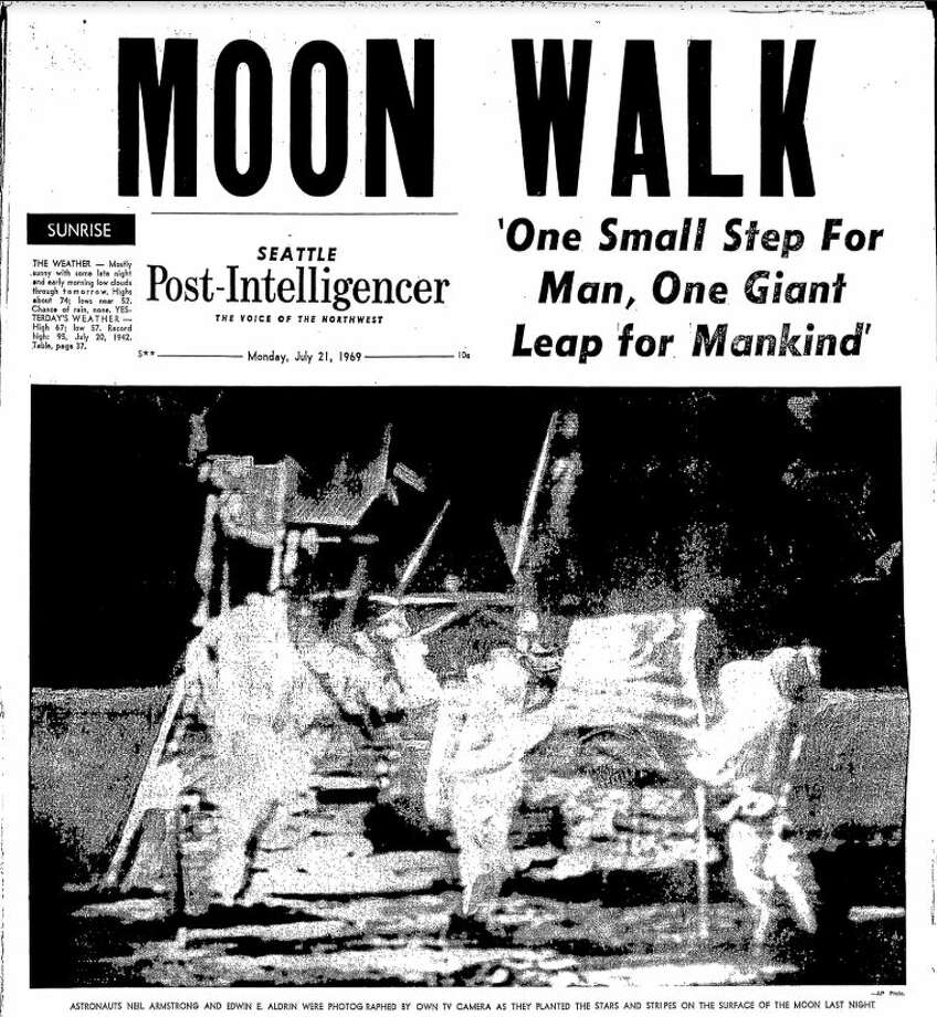 An issue of the Seattle Post-Intelligencer published July 21, 1969. Photo: Seattle Post-Intelligencer Archives