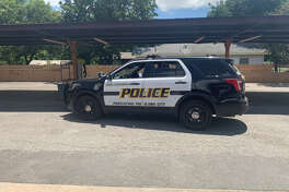 The San Antonio Police Department are searching for four males accused of robbing an automated teller machine with a stolen vehicle early Wednesday morning on the city's North Side.