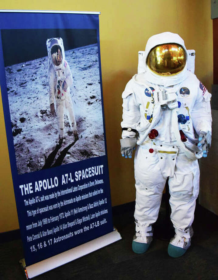 A replica of the original spacesuit worn by Neil Armstrong on the Apollo 11 Moon landing on display at the Glen Carbon Centennial Library. Photo: Tyler Pletsch | The Intelligencer