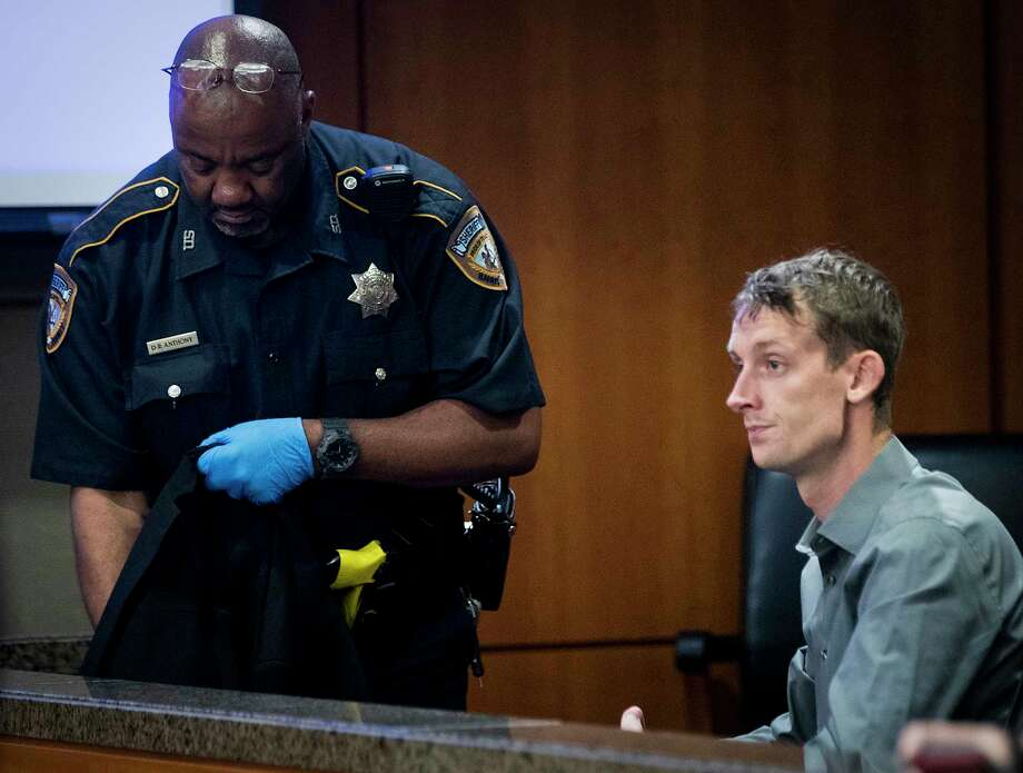 Marshall Schoen is taken into custody on Friday, July 19, 2019, in Houston, after he was sentenced in connection to a 2016 drunken driving crash that killed University of Houston student Mark Tartaglio as he walked home from a sorority costume party with his girlfriend. Schoen, 26, was sentenced to 10 years in prison, that can be adjusted after 120 days, depending on his behavior in prison. If he's released, he could serve the remainder of his sentence on probation. Photo: Brett Coomer, Staff Photographer / © 2019 Houston Chronicle