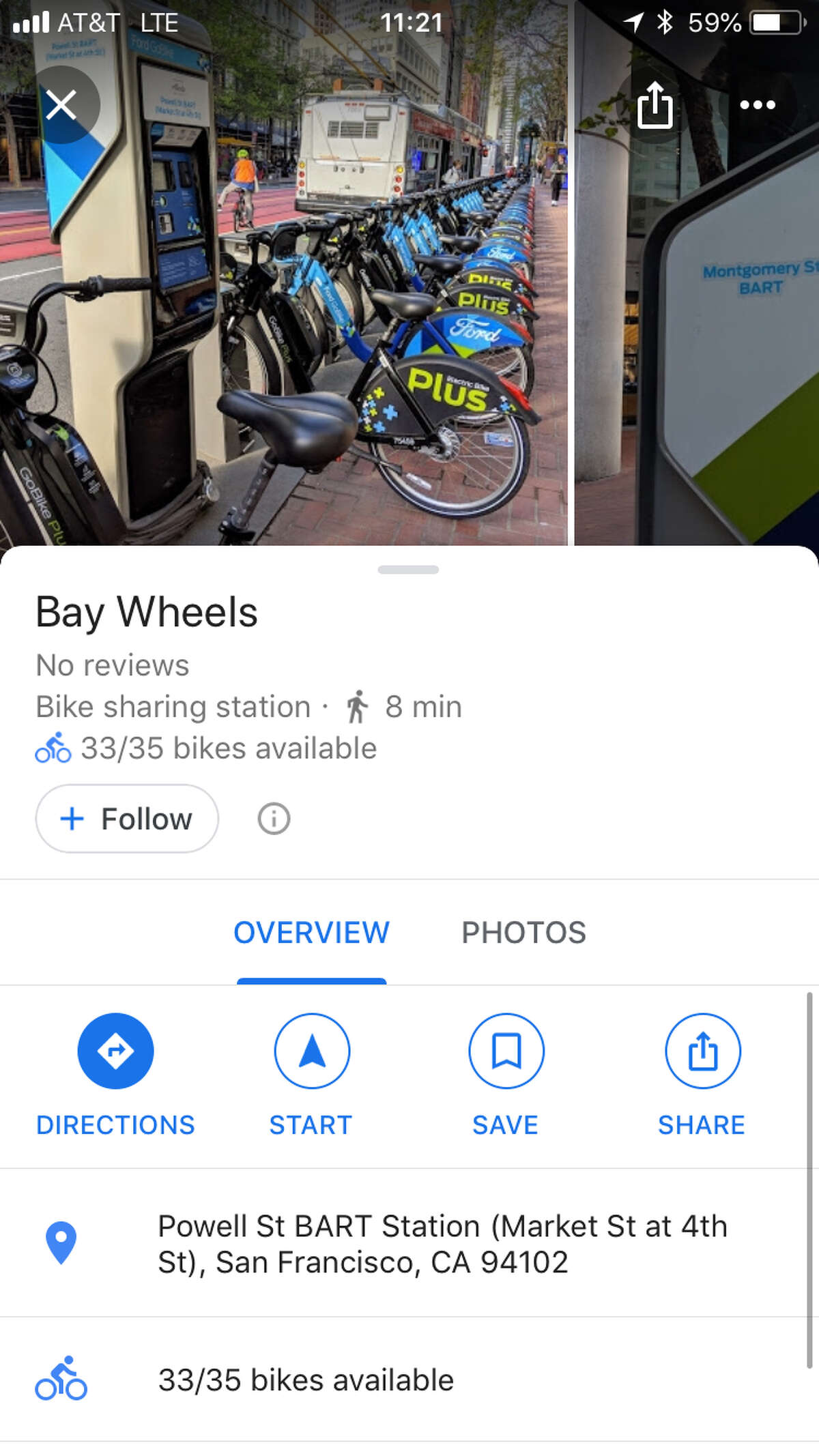 Google Maps can tell you how many bikes are available at Bay Wheels stations.