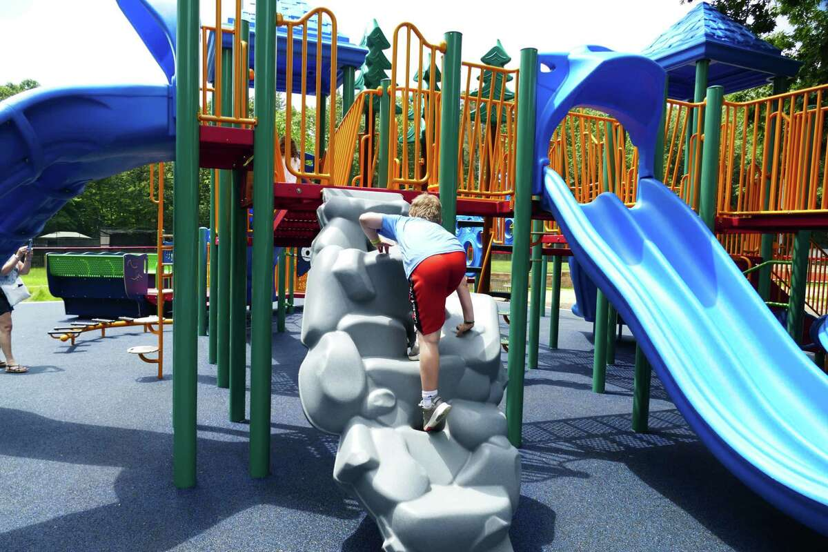 Children started using the new playground at Mead Park in July. The playground has a Poured in Place, PIP, flooring, which accommodates strollers, kids with specials needs and knees slamming down in a fall.