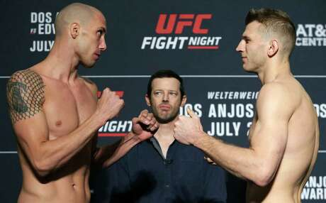 James Vick, left, meets Dan Hooker as UFC Fight Night opponents face off after their weigh-in at the Sheraton Gunter Hotel in San Antonio on July 19, 2019.