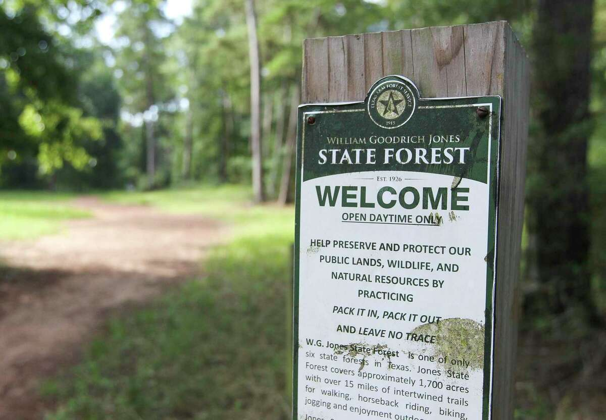 Forest bathing or forest therapy is a type of nature therapy all about taking in the atmosphere of the forest to relax, and it happens once a month at William Goodrich Jones State Forest in between The Woodlands and Conroe. Here, A sign encourages visitors to