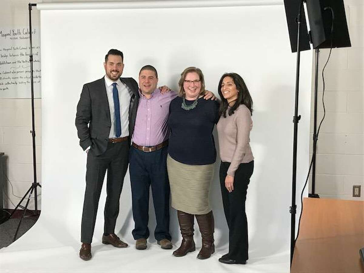 The Middlesex United Way in Middletown has four campaign Co-Chairpeople: from left, Justin Carbonella, Joe Santaniello, Meg Slater and Toral Maher.