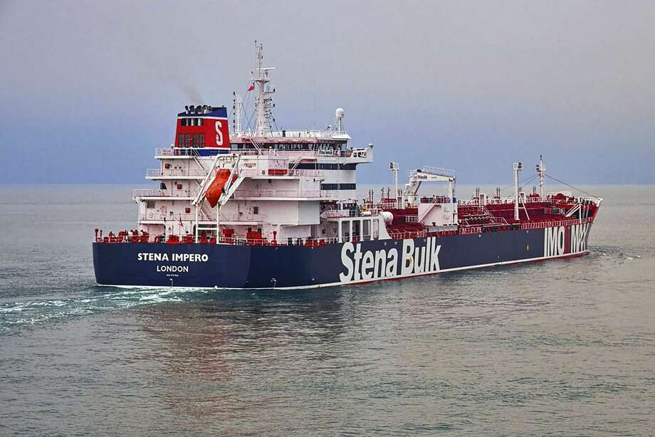 In this undated photo issued Friday July 19, 2019, by Stena Bulk, showing the British oil tanker Stena Impero at unknown location, which is believed to have been captured by Iran.  Iran's Revolutionary Guard announced on their website Friday July 19, 2019, it has seized a British oil tanker in the Strait of Hormuz, the latest provocation in a strategic waterway that has become a flashpoint in the tensions between Tehran and the West. (Stena Bulk via AP) Photo: Stena Bulk/AP