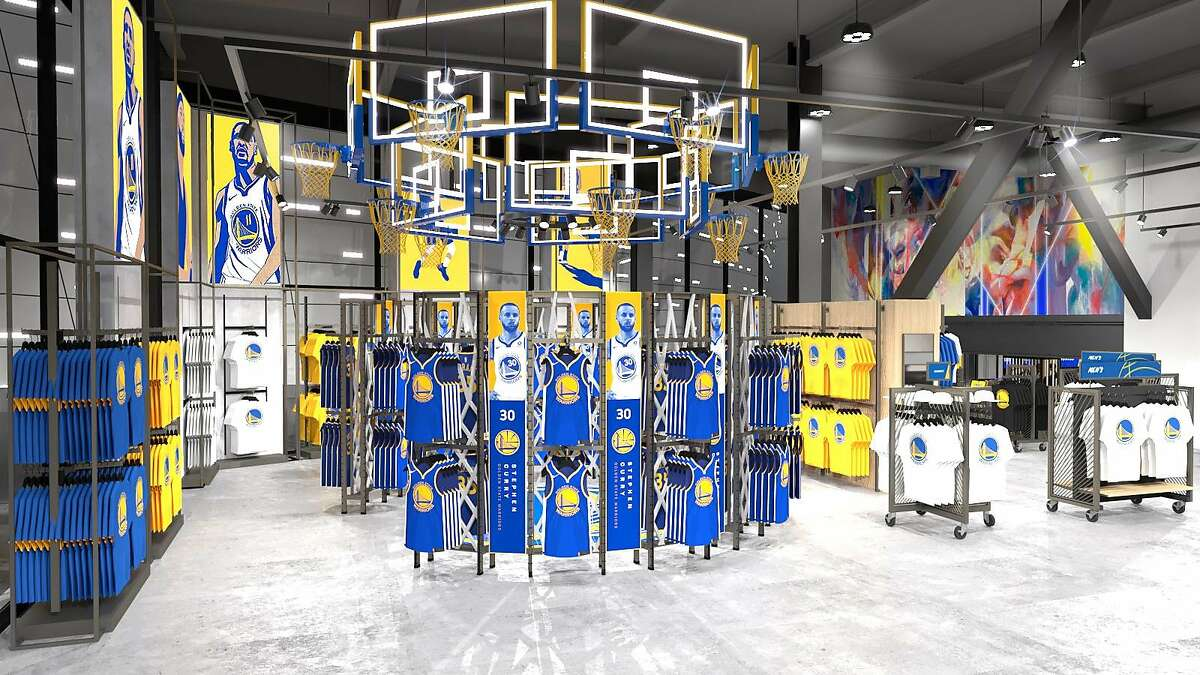 Rendering of the Warriors Shop at Thrive City, the entertainment and retail plaza being built around the Chase Center.