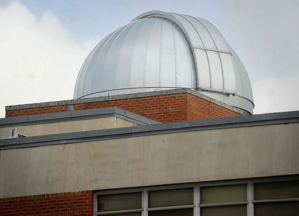 The new Ash 5 meter dome atop the Bassick High School observatory in Bridgeport, Conn. on Thursday, February 11, 2016.