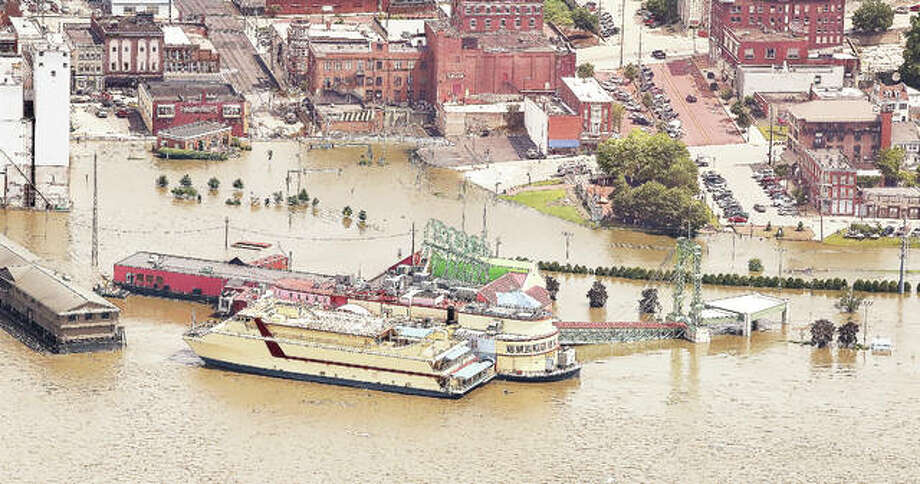 An aerial view shows downtown Alton near the crest of the 2019 flooding which was the second worst in recorded history. Madison County suffered an estimated $24.8 million in damage with Alton being one of the hardest hit at $3.65 million.