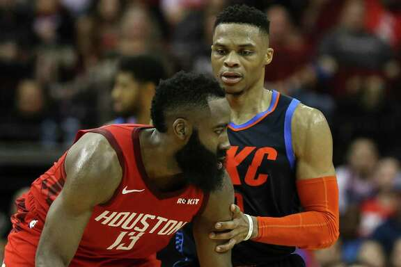 James Harden, working against Russell Westbrook last season, says the pair will fit together easily in Houston next season after the trade that sent Chris Paul to Oklahoma City.