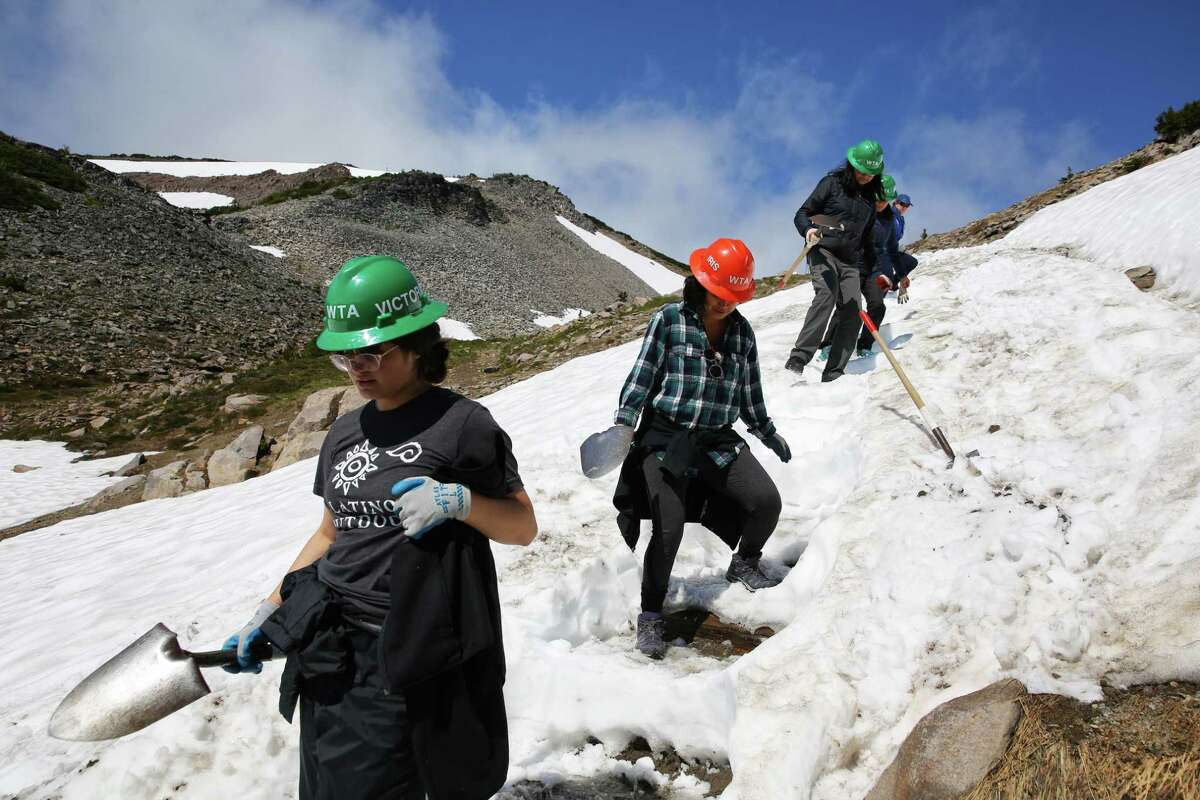 A crew of 14-18-year-old Latina girls, including Victoria Rosales, left, works to build steps into the Wonderland Trail at Mt. Rainier, Thursday, July 18, 2019. They are a part of a Latino Conservation Week camp, hosted by Latino Outdoors and Washington Trails Association, which intends to expose Latinx youths to nature and outdoor careers and experiences.