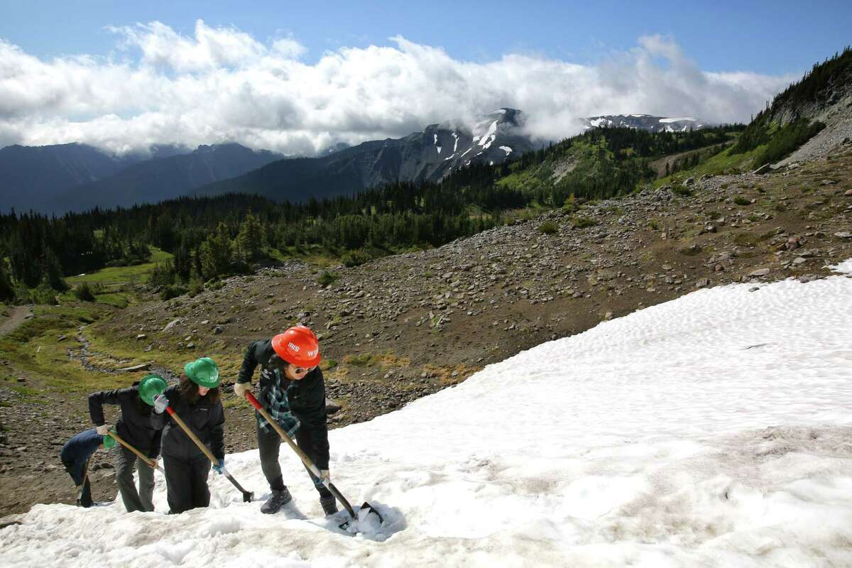 A crew of 14-18-year-old Latina girls works to build steps into the Wonderland Trail at Mt. Rainier, Thursday, July 18, 2019. They are a part of a Latino Conservation Week camp, hosted by Latino Outdoors and Washington Trails Association, which intends to expose Latinx youths to nature and outdoor careers and experiences.