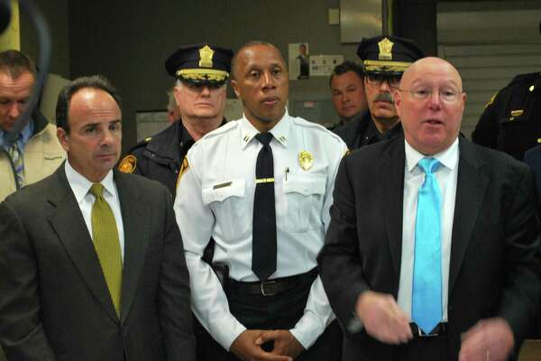 Mayor Joe Ganim, accompanied by Police Capt. Roderick Porter, head of Community Services Unit and School Security, and acting Police Chief Armando Perez held a press conference on Monday, March 14, 2016 to announce he is bringing back community policing in the city's housing projects.