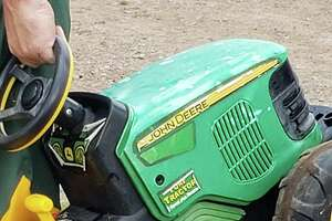 """First call of the night at the county fair was a missing 2 year old who drove his tractor from home, to the fair. He was reunited with Dad who promptly suspended his son's license by removing the battery from it."""