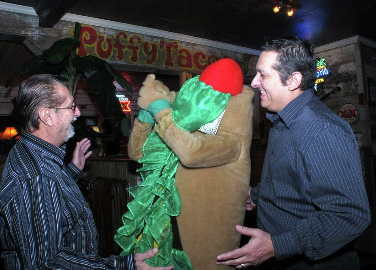 The mascot's recipe for success hasn't changed much since 1989, when a young Jaime Lopez (shown right in 2012) first cooked up the idea with former Missions assistant general manager David Oldham to promote Henry's Puffy Tacos, which Lopez's dad Henry (shown left) launched in 1978.