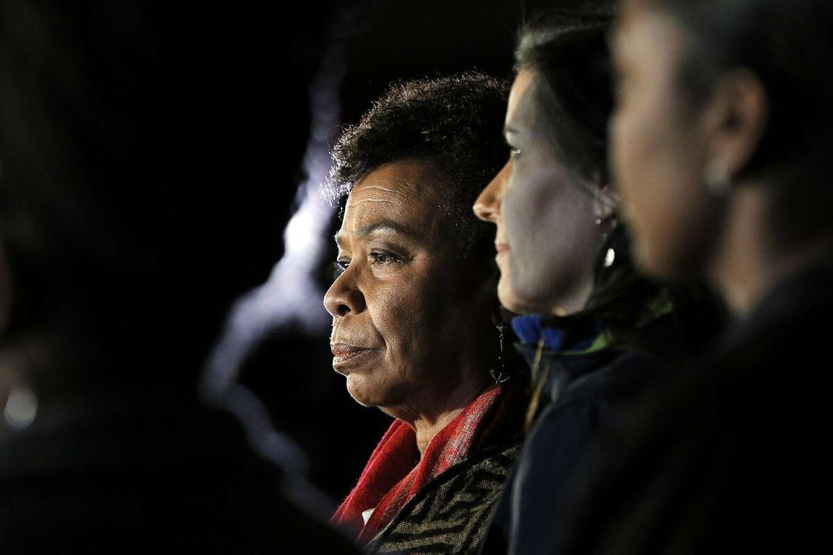 Rep. Barbara Lee, at left, during a news conference with Oakland Mayor Libby Schaaf in December 2016.