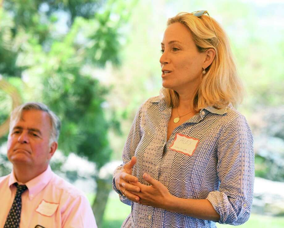 State Sen. Alex Bergstein, D-Greenwich, speaks at the annual League of Women Voters legislative picnic at a private residence in the Riverside section of Greenwich on July 9. Photo: Tyler Sizemore / Hearst Connecticut Media / Greenwich Time