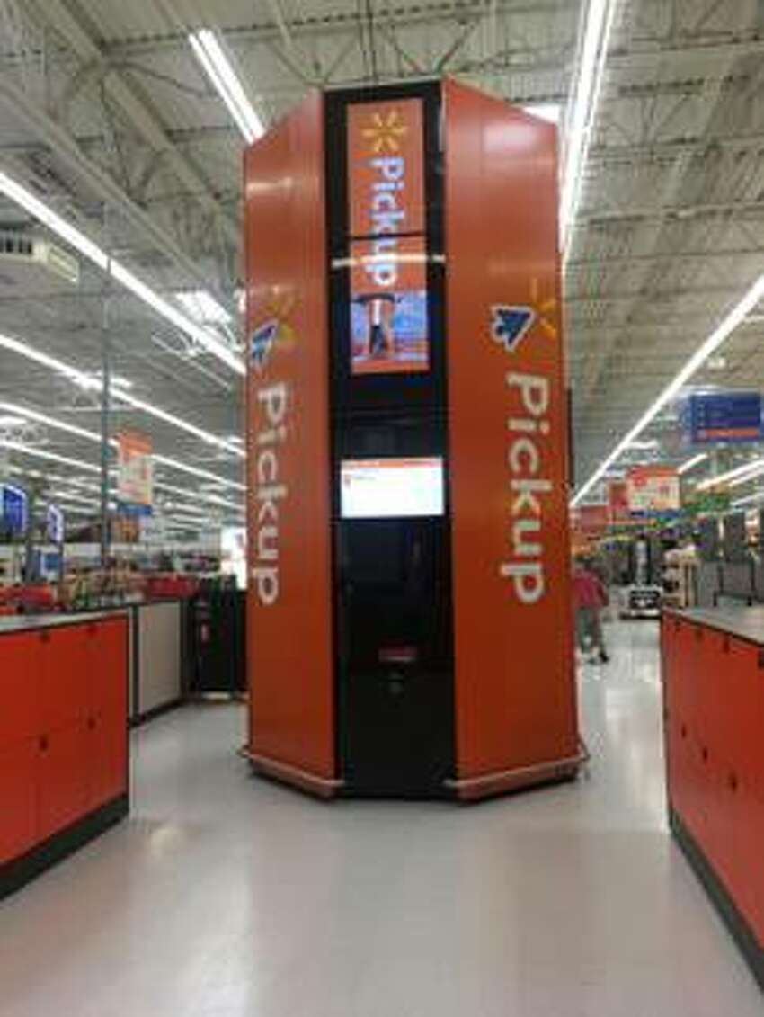 The Glenville Walmart store is the latest in the region to add a pickup tower, basically an oversize vending machine, that enables a customer to retrieve a previously ordered item in less than a minute after scanning a confirmation bar code sent to the purchaser's cellphone.