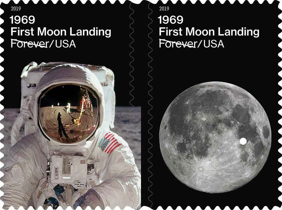 This image provided by the U.S. Postal Service on Friday, July 19, 2019 shows examples of new stamps issued on Friday, to commemorate the 50th anniversary of the first moon landing. On July 20, 1969, Apollo 11 astronauts Neil Armstrong and Buzz Aldrin became the first people to step onto the surface of the moon. (USPS via AP) Photo: Associated Press / U.S. Postal Service
