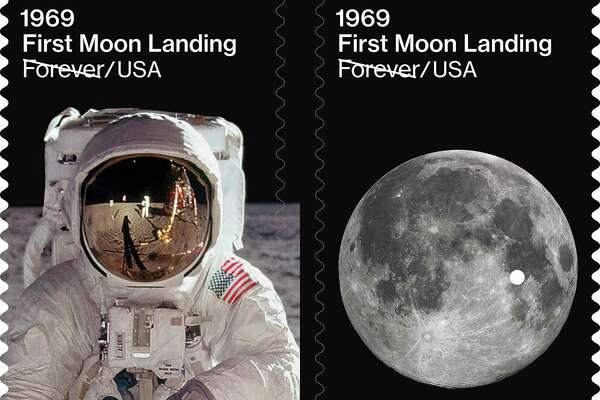 This image provided by the U.S. Postal Service on Friday, July 19, 2019 shows examples of new stamps issued on Friday, to commemorate the 50th anniversary of the first moon landing. On July 20, 1969, Apollo 11 astronauts Neil Armstrong and Buzz Aldrin became the first people to step onto the surface of the moon. (USPS via AP)