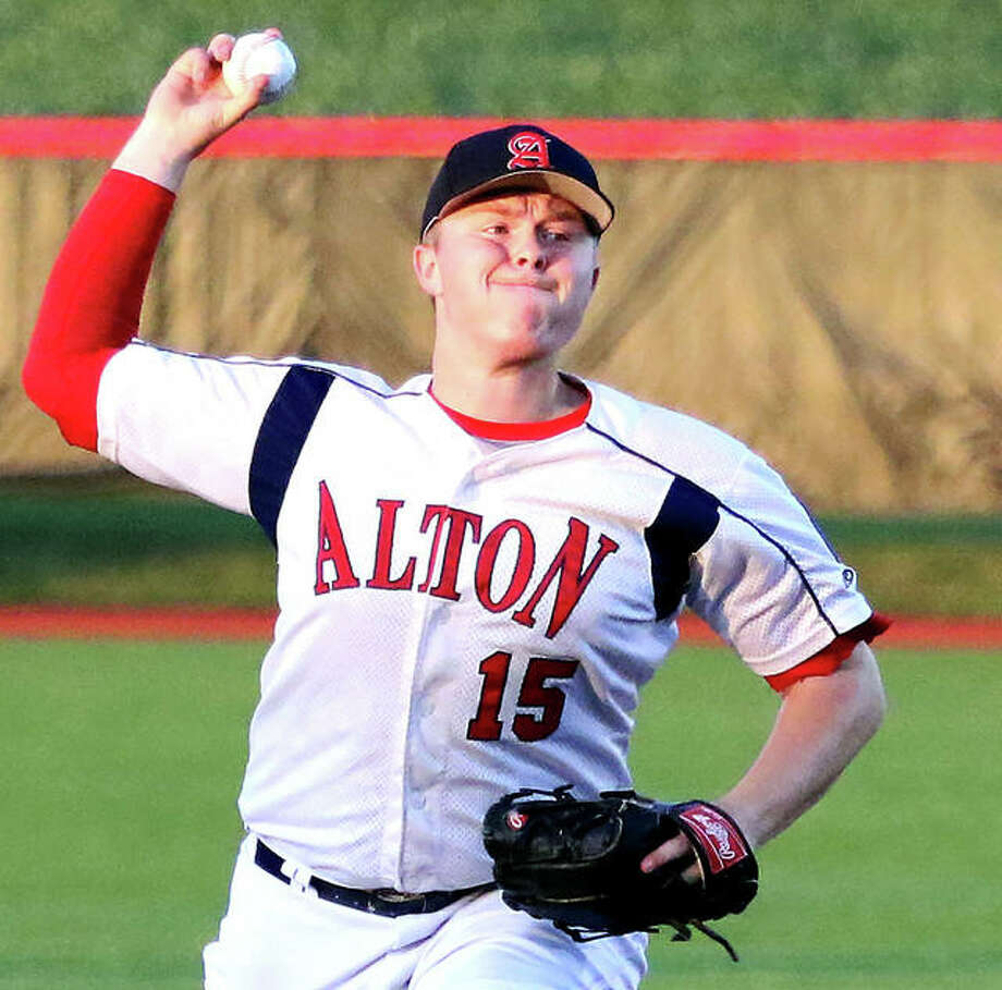 Alton pitcher Adam Stilts was one of three pitchers used in Thursday's late-night 7-1 loss to Belleville in the District 22 Tournament in Highland. Photo: Telegraph Photo