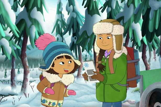 "This image released by PBS shows characters Molly, voiced by Sovereign Bill, left, and her mother, voiced by Jules Koostachin in a scene from the animated series ""Molly of Denali."" The animated show, which highlights the adventures of a 10-year-old Athabascan girl, Molly Mabray, premieres July 15 on PBS Kids. (PBS via AP)"