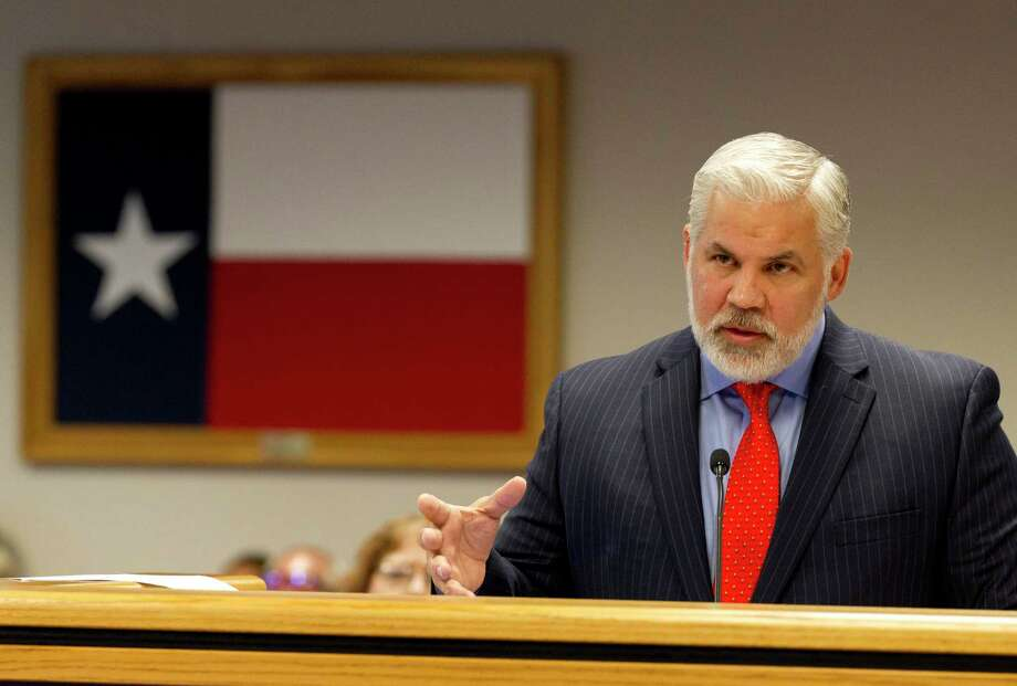 Montgomery County District Attorney Brett Ligon speaks during a Montgomery County Commissioners Court meeting at the Alan B. Sadler Commissioners Court Building, Tuesday, July 9, 2019, in Conroe. Photo: Jason Fochtman, Houston Chronicle / Staff Photographer / Houston Chronicle