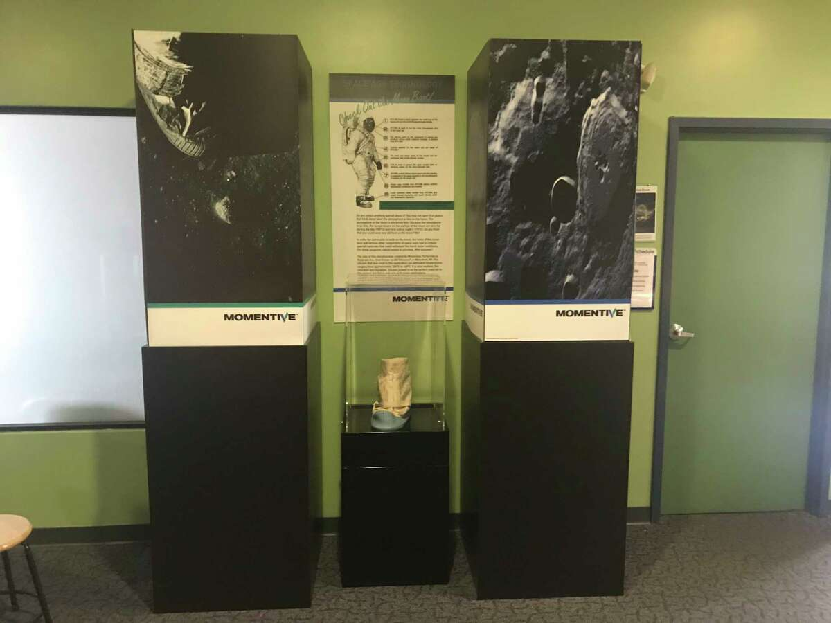 The moonboot prototype developed by GE Silicones, now Momentive, on display at Children's Museum of Science and Technology in North Greenbush.