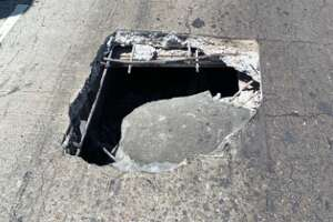 A large pothole closed a lane on southbound I-880 Friday afternoon.