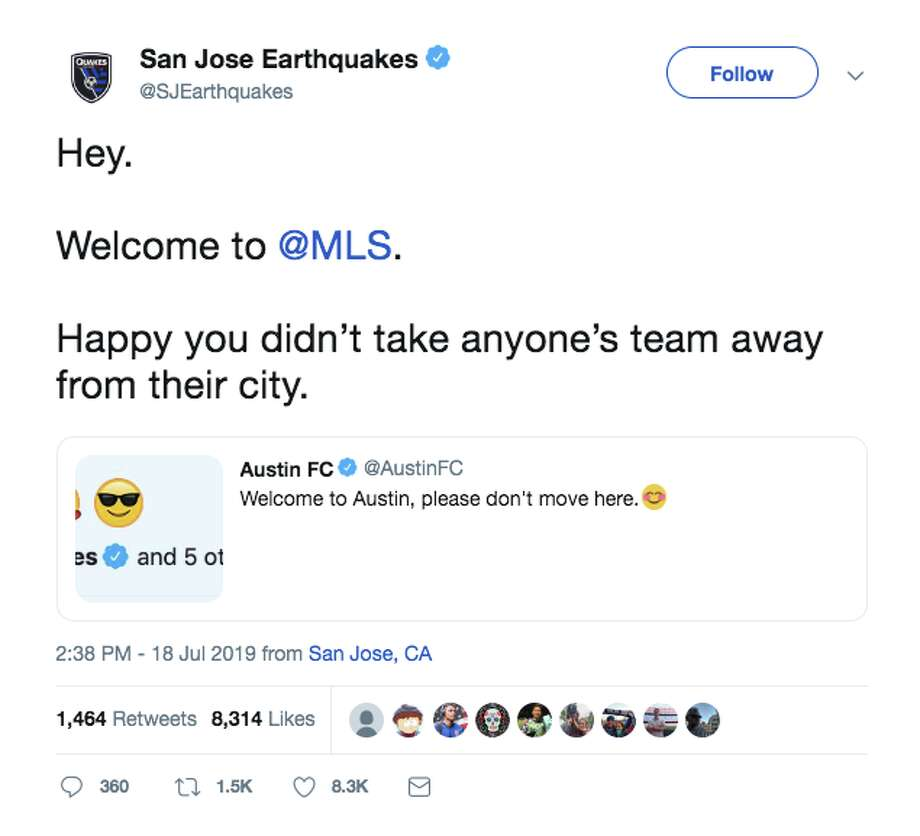 On Thursday, a snarky scuffle unfolded on Twitter between Austin FC and San Jose Earthquakes. Photo: Courtesy Of @SJEarthquakes Via Twitter