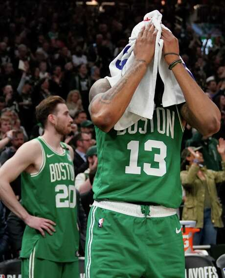 Boston Celtics' Marcus Morris reacts during the second half of Game 5 of a second round NBA basketball playoff series against the Milwaukee Bucks Wednesday, May 8, 2019, in Milwaukee. The Bucks won 116-91 to win the series. (AP Photo/Morry Gash)