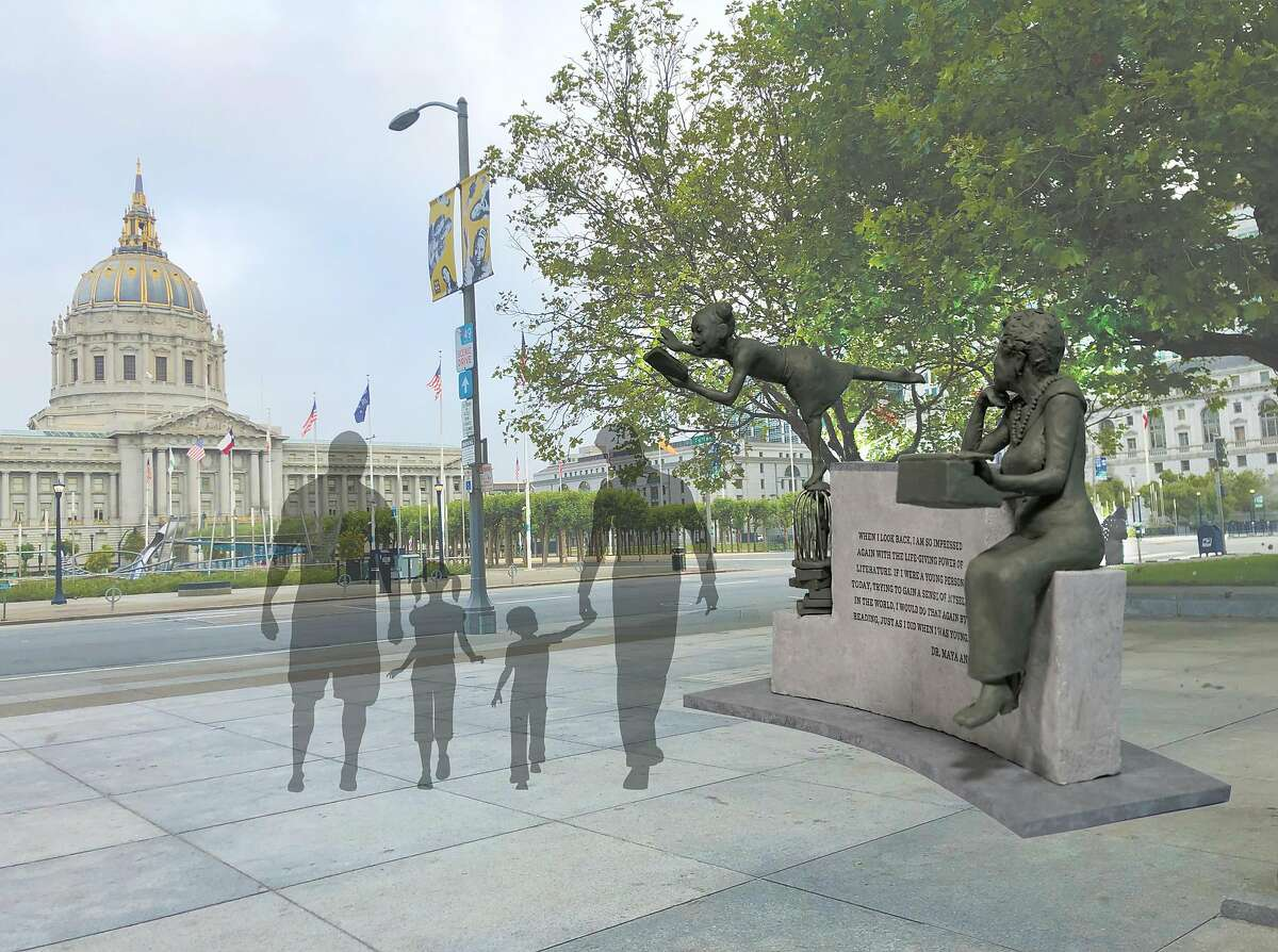 Renderings of a sculpture by artist Jules Arthurs of poet Maya Angelou.