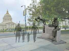 Renderings of a sculpture by artist Jules Arthurs of poet Maya Angelou.