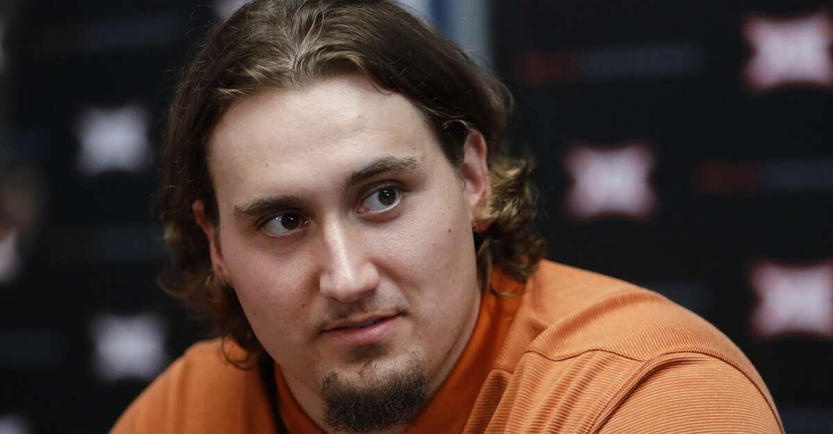 Texas center Zach Shackelford speaks during Big 12 Conference NCAA college football media day Tuesday, July 16, 2019, at AT&T Stadium in Arlington, Texas. (AP Photo/David Kent)