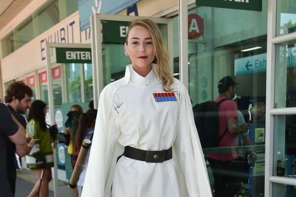 First time cosplayer Sam Thomas originally from Holland and living in Florida walks by the Convention Center during Comic Con in San Diego, California on July 19, 2019.