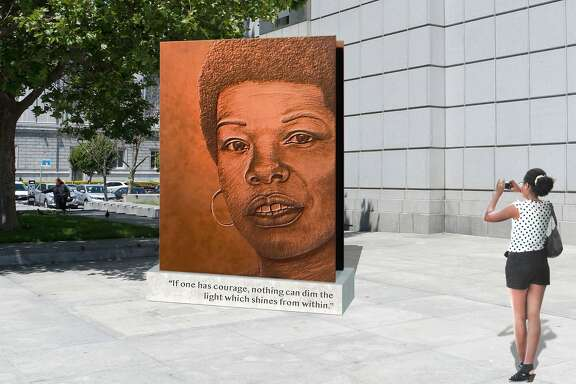 "Artist Lava Thomas designed this sculpture entitled ""Portrait of a Phenomenal Woman"" ."