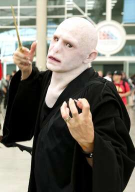 A Voldemort cosplayer attends 2019 Comic-Con International on July 19, 2019 in San Diego, California.