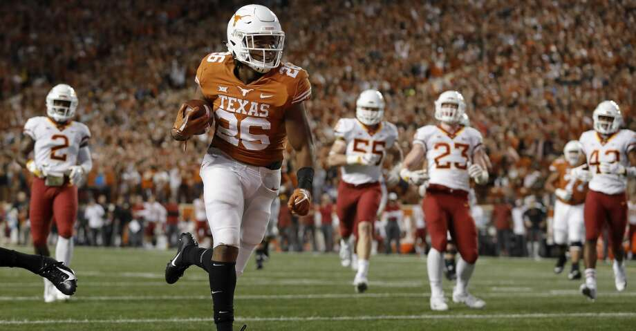 AUSTIN, TX - NOVEMBER 17:  Keaontay Ingram #26 of the Texas Longhorns runs into the end zone for a touchdown in the second quarter against the Iowa State Cyclones at Darrell K Royal-Texas Memorial Stadium on November 17, 2018 in Austin, Texas.  (Photo by Tim Warner/Getty Images) Photo: Tim Warner/Getty Images