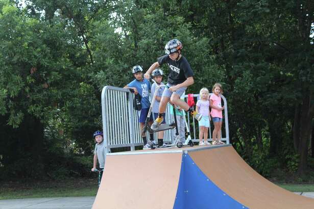 Kingwood residents celebrate the renovations and improvements made to the Dylan Duncan skate park on July 16, 2019.