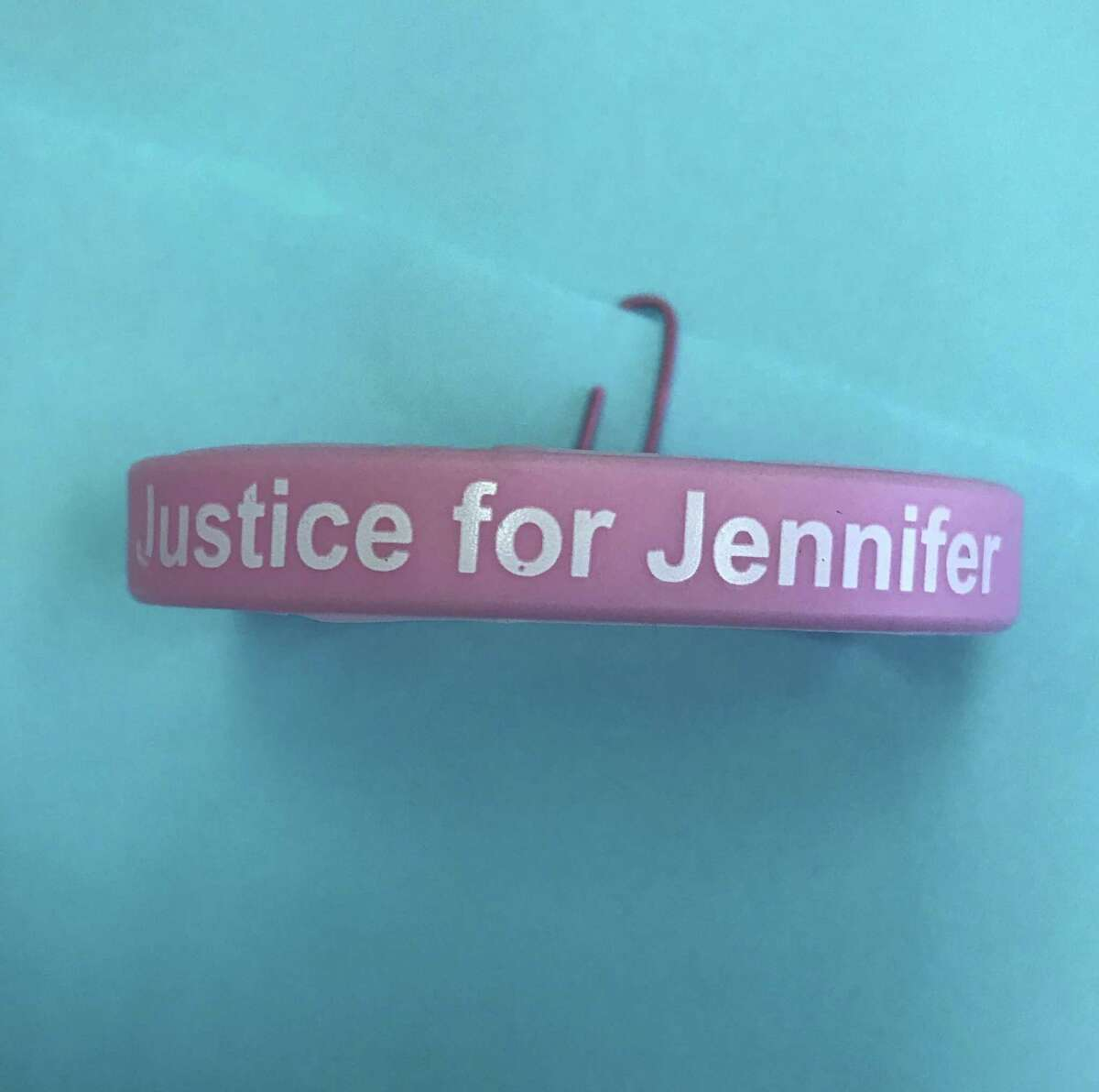 Bracelets created by a Norwalk lawyer raising awareness of Jennifer Dulos' disappearance.