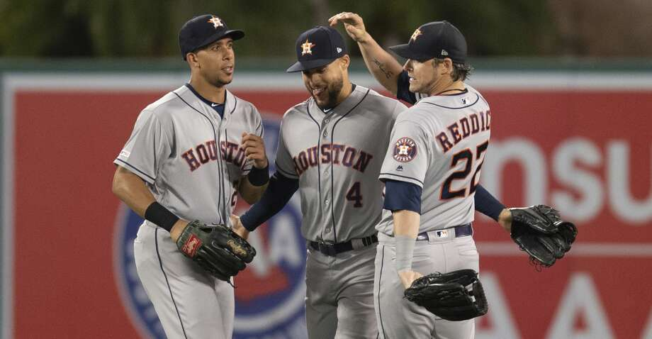 PHOTOS: Astros game-by-game Houston Astros left fielder Michael Brantley, center fielder George Springer, and right fielder Josh Reddick, from left, celebrate the team's 6-2 win over the Los Angeles Angels in a baseball game in Anaheim, Calif., Thursday, July 18, 2019. (AP Photo/Kyusung Gong) Browse through the photos to see how the Astros have fared in each game this season. Photo: Kyusung Gong/Associated Press