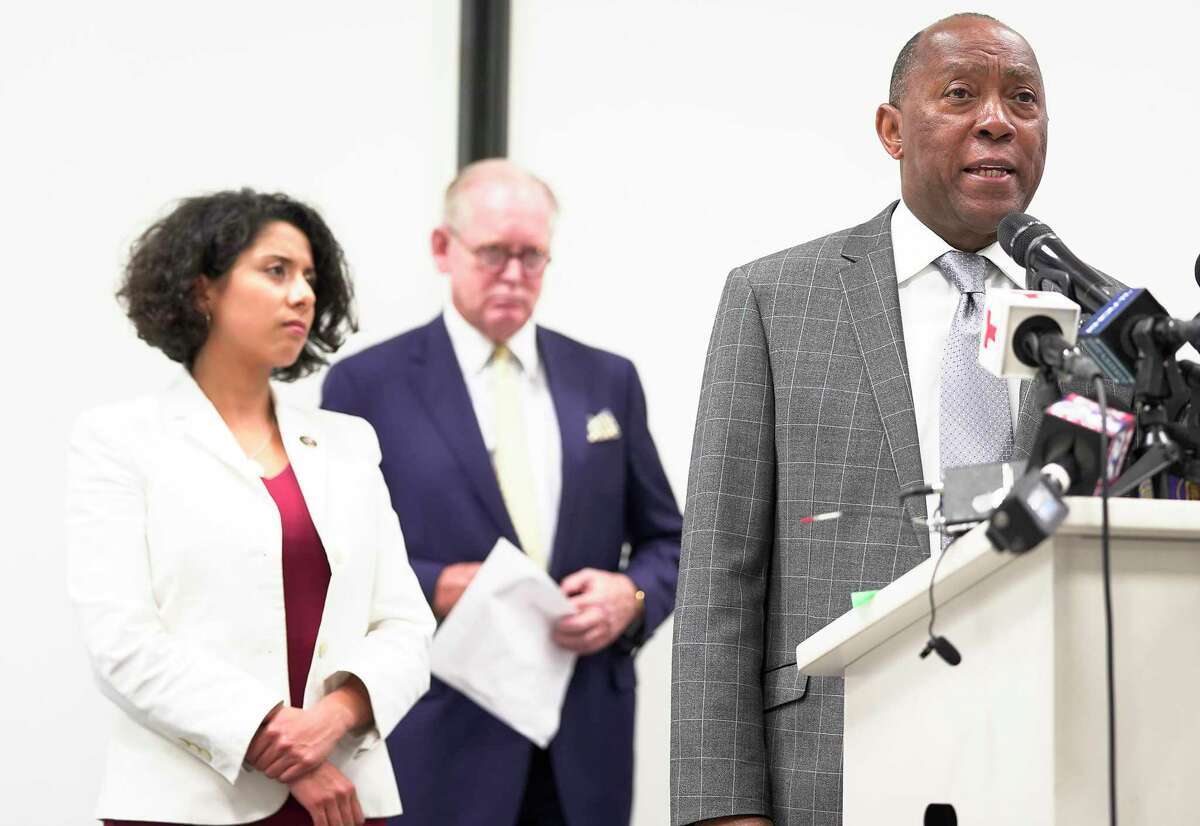 Houston Mayor Sylvester Turner answers questions from the media after presenting the 2020 Census Plan and Complete County Committee on Friday, July 19, 2019 in Houston.