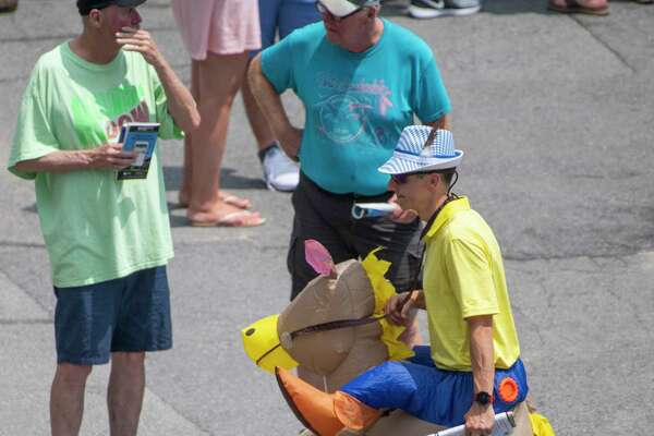 This race fan had no problem wearing his colors and his horse at the Saratoga Race Course Friday July 20, 2019 in Saratoga Springs, N.Y. Special to the Times Union by Skip Dickstein