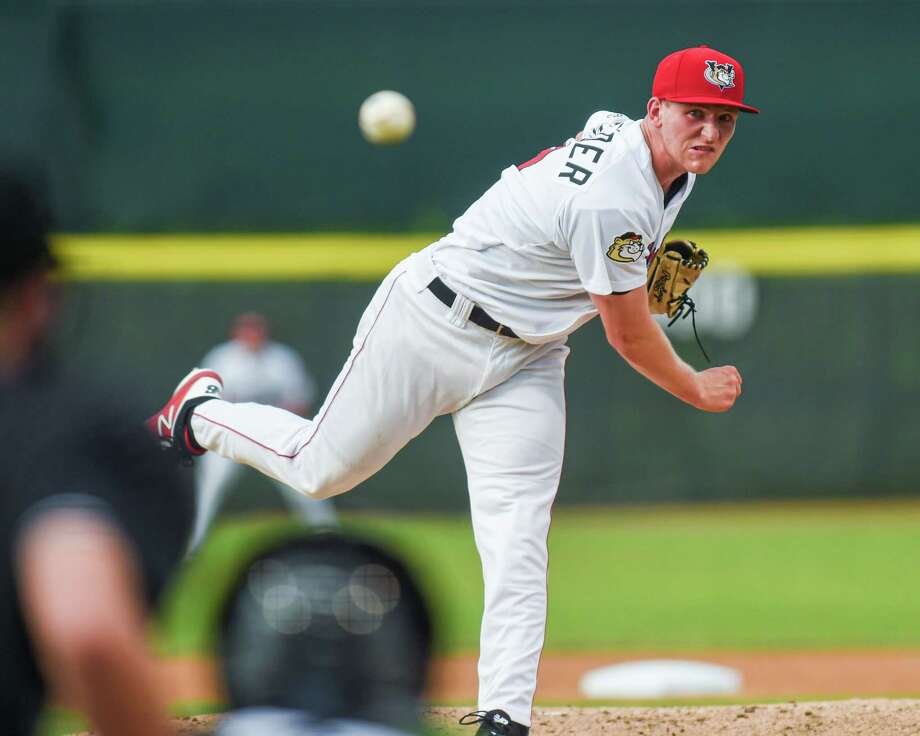Tri-City ValleyCats starting pitcher Jayson Schroeder in the first inning of a game against the Lowell Spinners at the Joseph L. Bruno Stadium in Troy NY on Friday, July 19 2019 (Jim Franco/Special to the Times Union.) Photo: James Franco / 40047132A