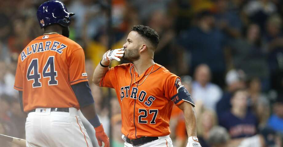 Houston Astros second baseman Jose Altuve (27) blows a kiss after hitting a solo home run in the bottom of the third inning against the Texas Rangers at Minute Maid Park on Friday, July 19, 2019 in Houston. Photo: Elizabeth Conley/Staff Photographer