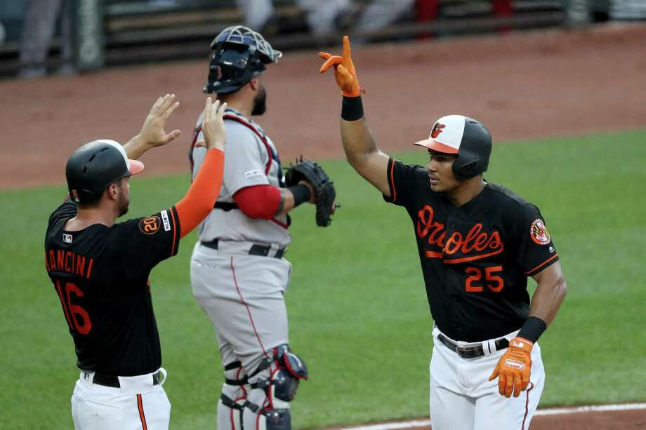 BALTIMORE, MARYLAND - JULY 19: Anthony Santander #25 of the Baltimore Orioles celebrates with Trey Mancini #16 after hitting a three run home run against the Boston Red Sox in the first inning at Oriole Park at Camden Yards on July 19, 2019 in Baltimore, Maryland. (Photo by Rob Carr/Getty Images) Photo: Rob Carr / 2019 Getty Images